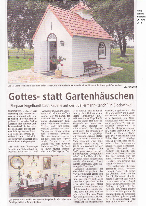 """""""St. Leonhard-Kapelle"""" Auf Der BALLERMANN RANCH – Einsegnung Am 11. Juli"""