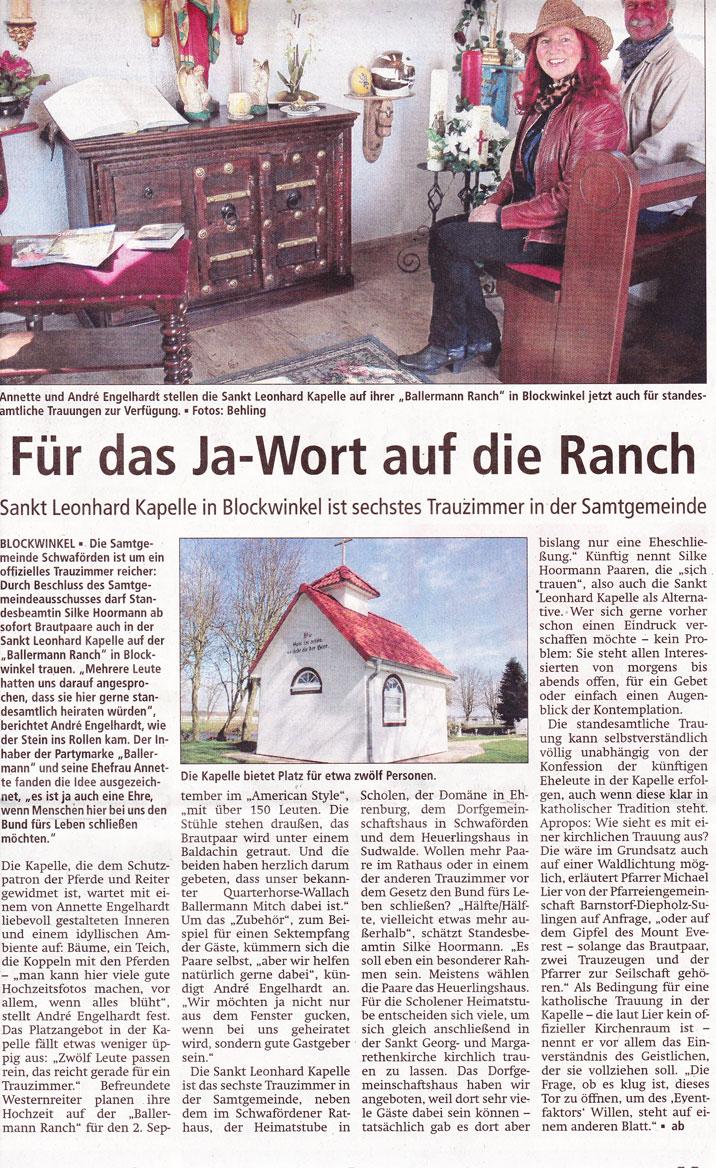 KREISZEITUNG Sulingen - 05.04.2016 (Bericht: Andreas Behling)