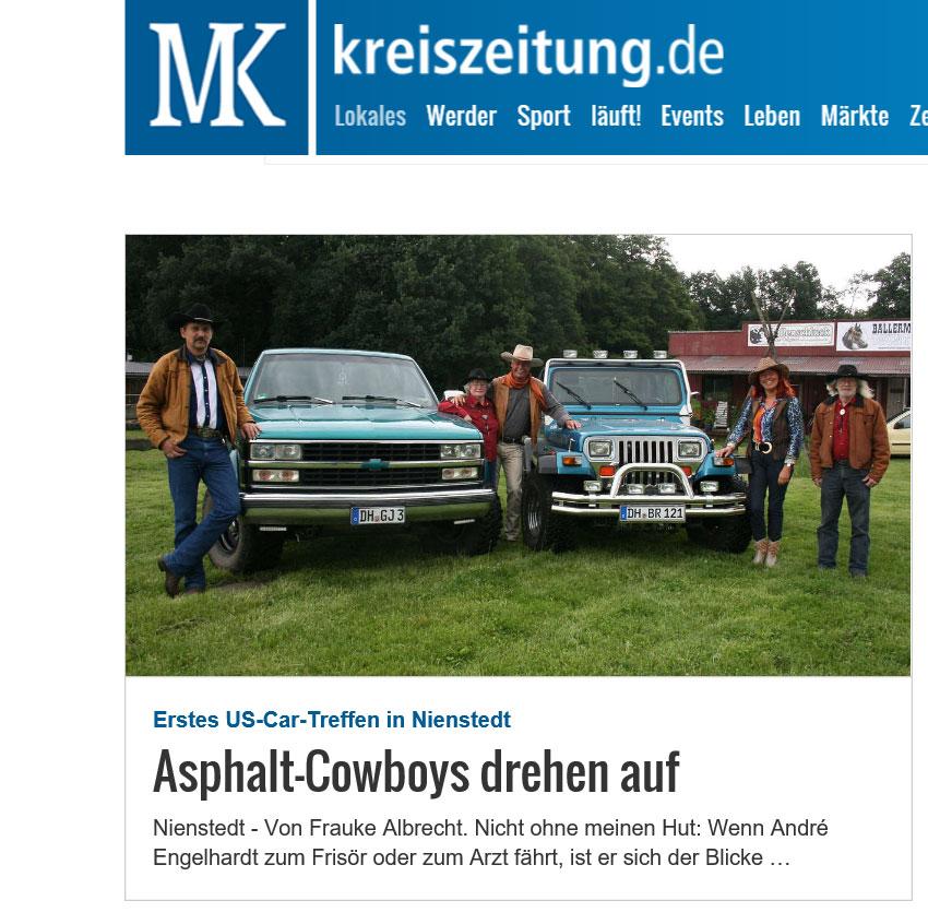 Kreiszeitung: Asphalt-Cowboys Drehen Auf!