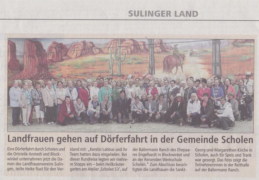 Kreiszeitung Sulingen - Landfrauen auf der Ballermann Ranch