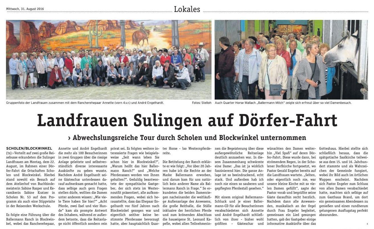 Bei Annette u. andré Engelhardt auf der Ballermann Ranch - Über 100 Landfrauen... - Ein Bericht von Tanja Stelloh (Die Wochenpost)