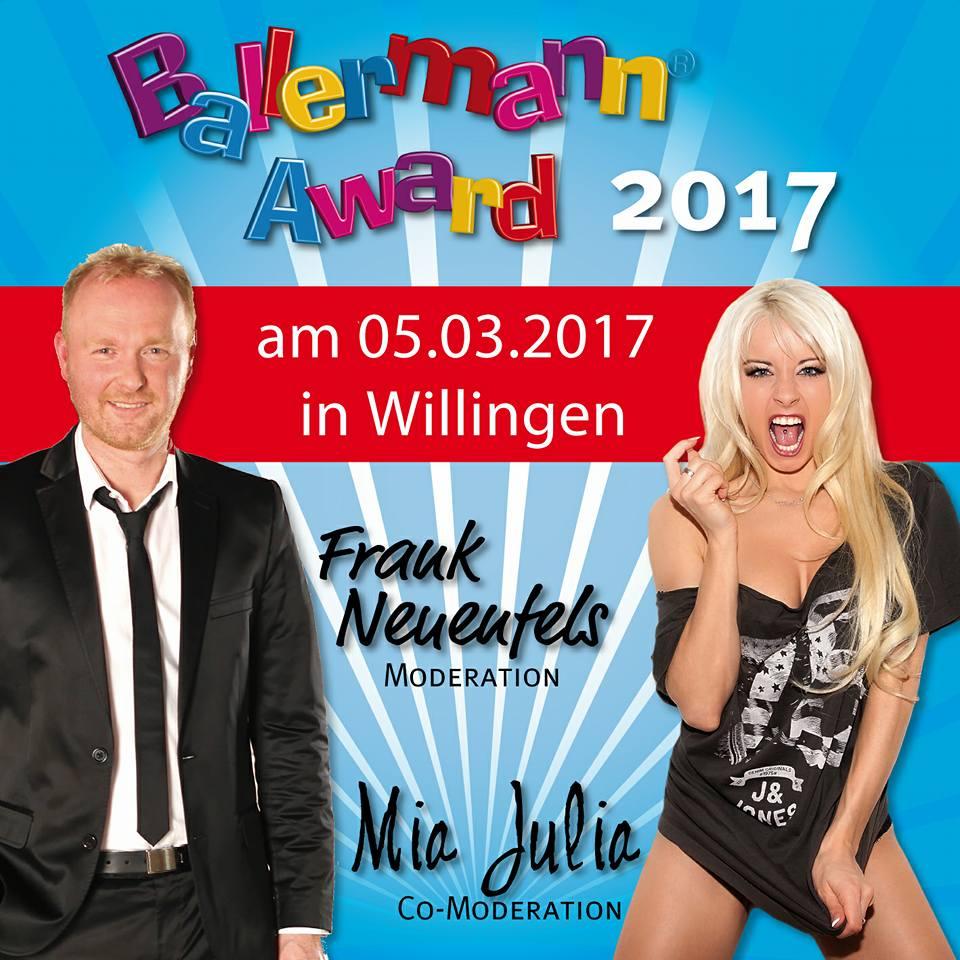 Mia Julia U. Frank Neuenfels Moderieren Den BALLERMANN AWARD 2017
