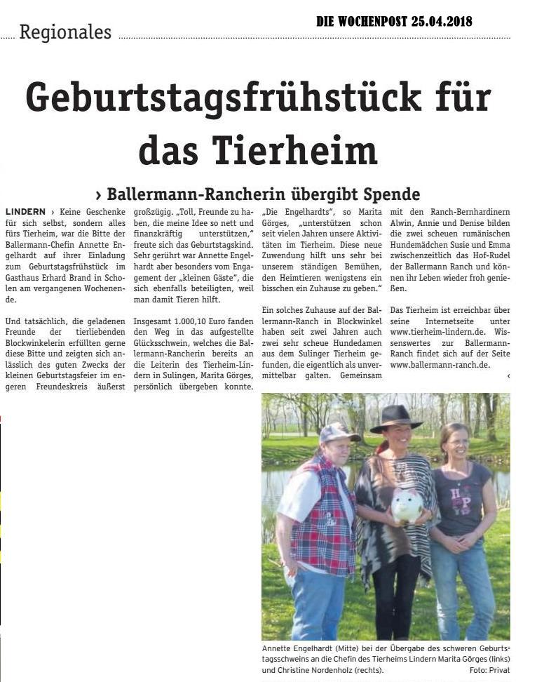 DIE WOCHENPOST Landkreis Diepholz Annette engelhardt übergibt auf der Ballermann Ranch Glücksschwein an das Tierheim Lindern