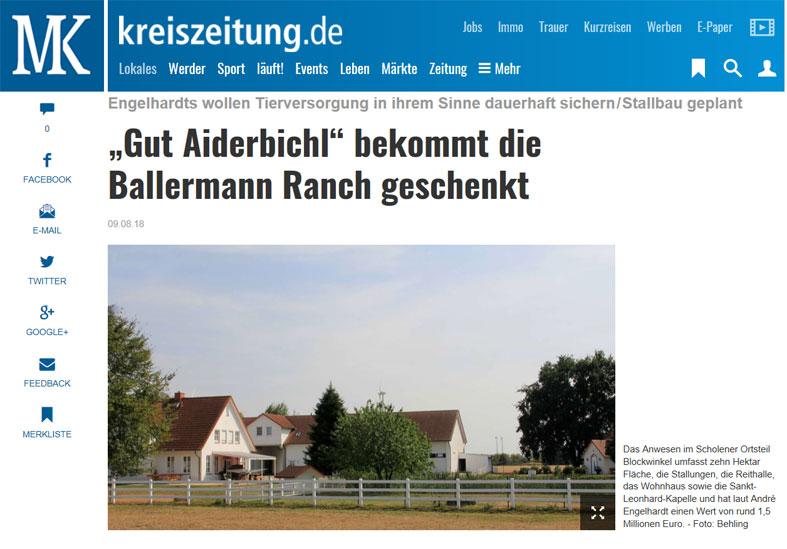 BALLERMANN RANCH WIRD VERSCHENKT