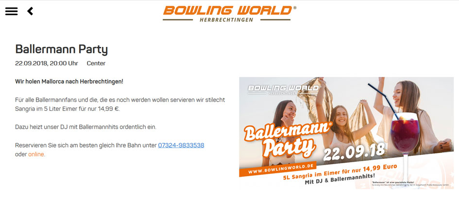 BALLERMANN PARTY in der Bowling World Herbrechtingen