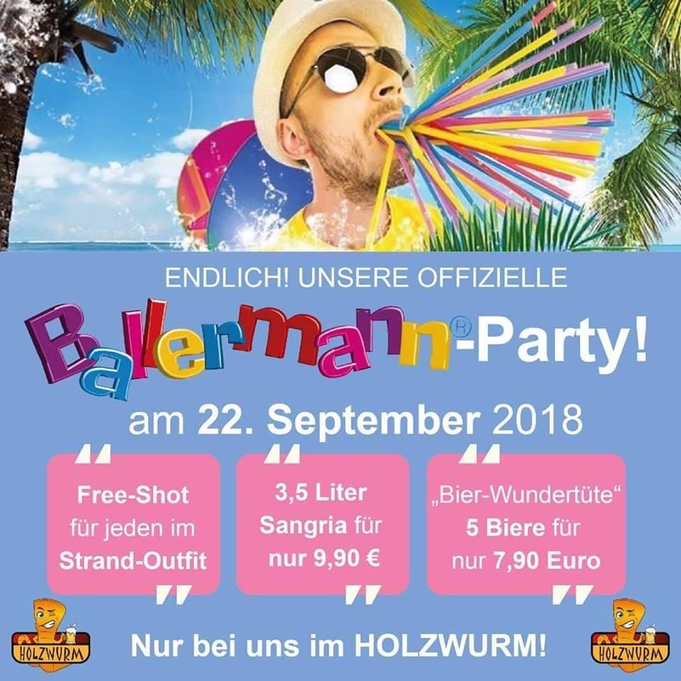 DAS ORIGINAL im Holzwurm Kinsterre: BALLERMANN-PARTY