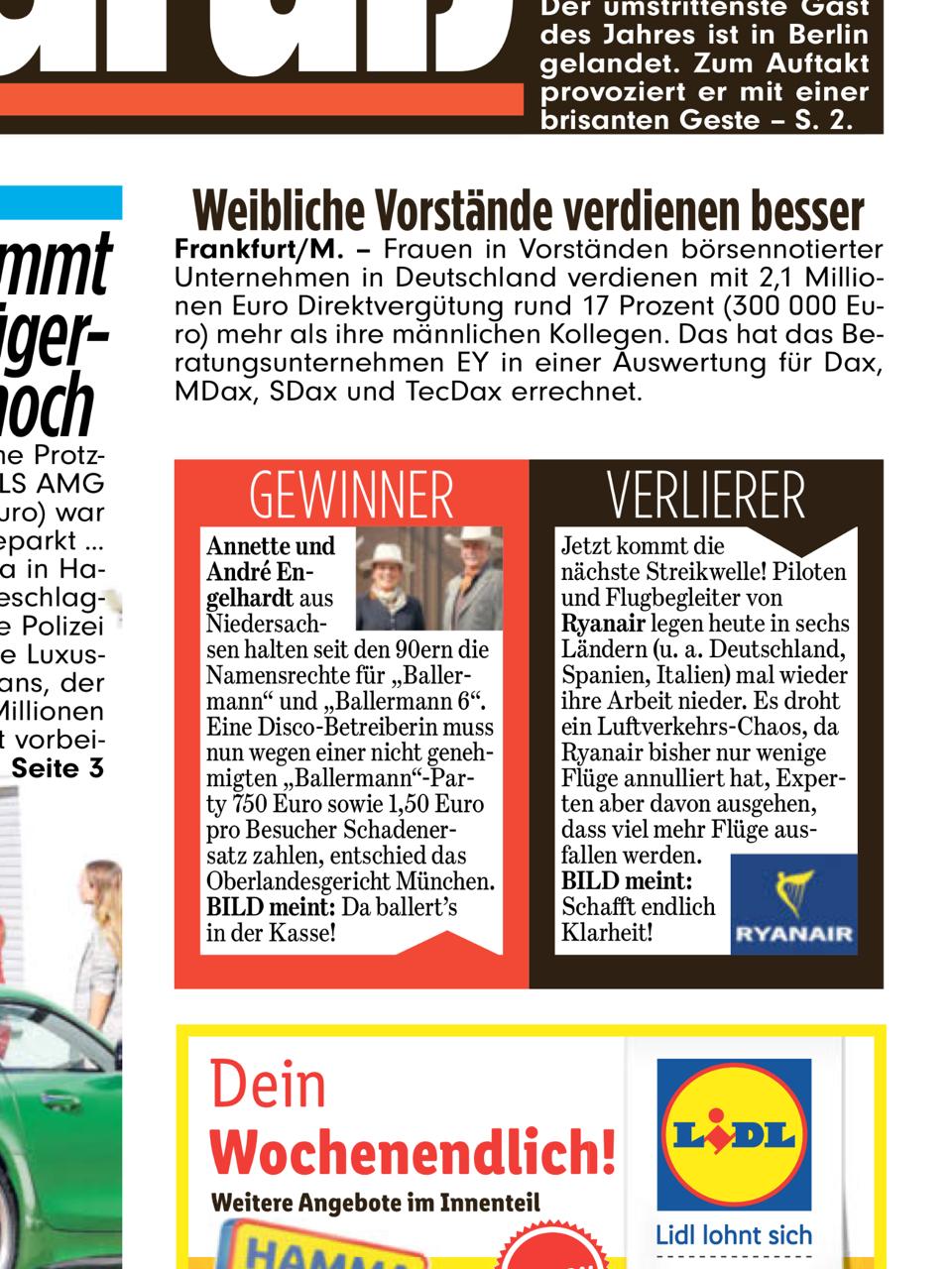 BILD Zeitung - 28.09.2018