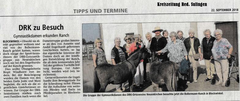 Kreiszeitung Red. Sulingen - DRK Gymnastikgruppe Neuenkirchen auf der BALLERMANN RANCH