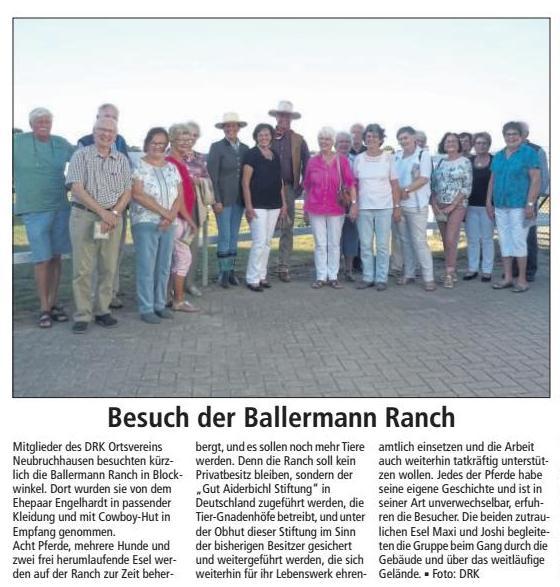 Kreiszeitung Red. Bassum (Niedersachsen) - DRK Neubruchhausen auf der Ballermann Ranch