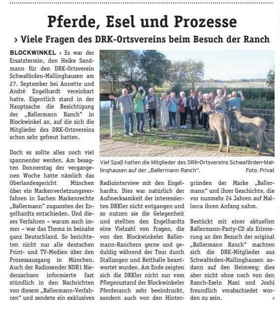 Annette u. andre engelhardt empfangen DRK Ortsverein Schwaförden auf der Ballermann Ranch