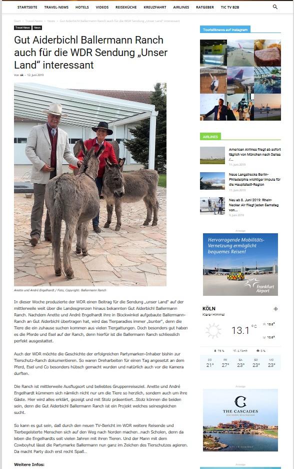 """Reiseportal """"Touristik NEWS"""" - 12.06.2019"""