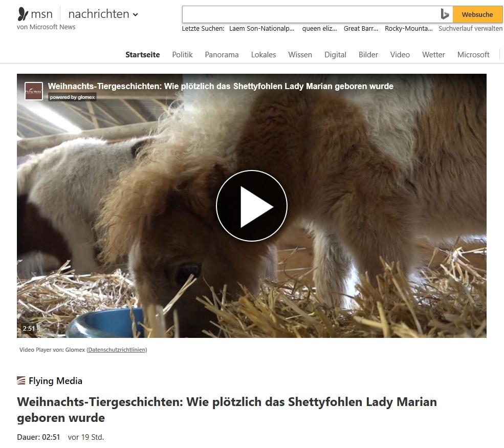 bei MSN Nachrichten: Weihnachtliche Tiergeschichten von der Gut Aiderbichl BALLERMANN RANCH (Folge 1: Lady Marian)