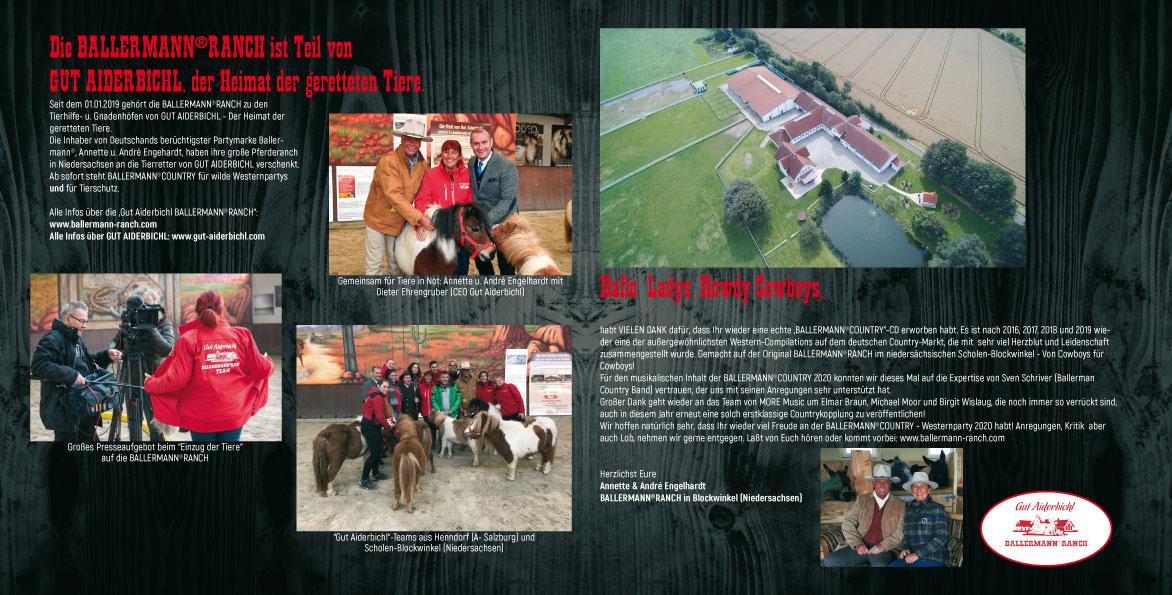 Ballermann Country - Die CD mit umfangreichem Booklett von Geschichten über die Ballermann Ranch und die geretteten Tiere von Gut Aiderbichl