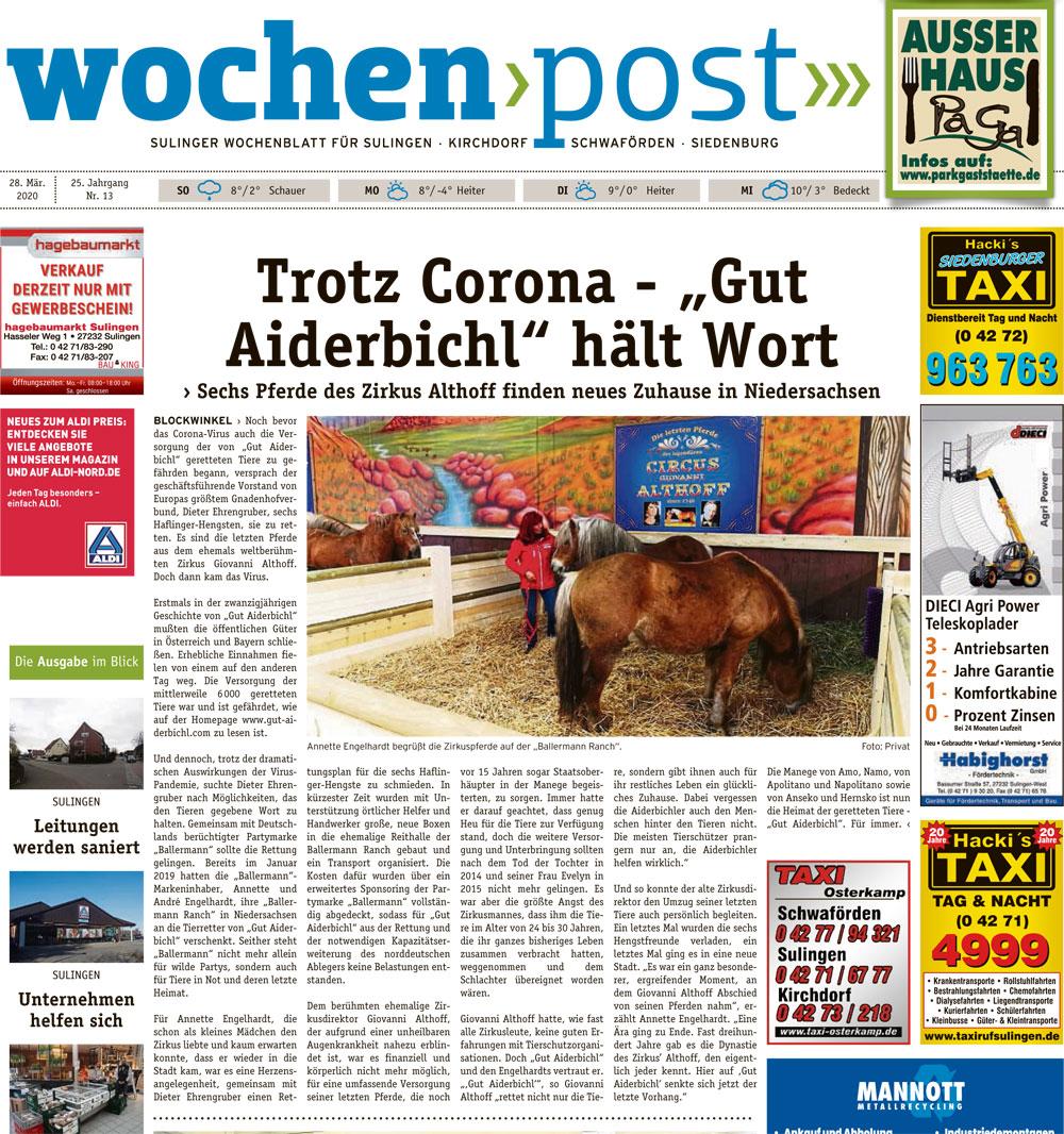 DIE WOCHENPOST, Landkreis Diepholz (Niedersachsen), 28. März 2020